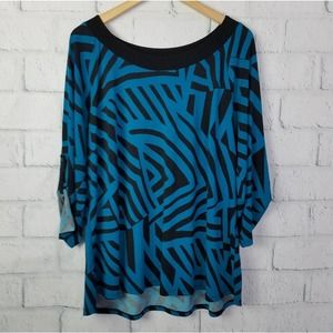 Cato Woman Geometric Pattern 3/4 Sleeve Top